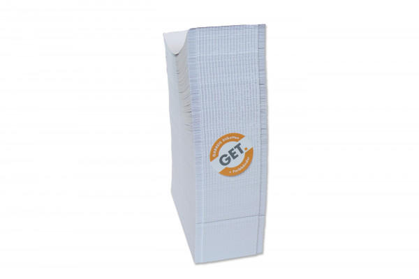 KLT Karton Etiketten in 76 x 210 mm, leporello gelegt