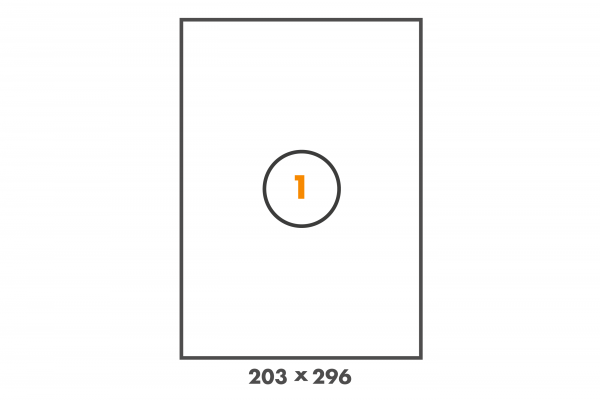 PE Etiketten auf DIN A4 Bogen mit Abzugshilfe, 1 Etikett pro Blatt in 203 mm x 296 mm