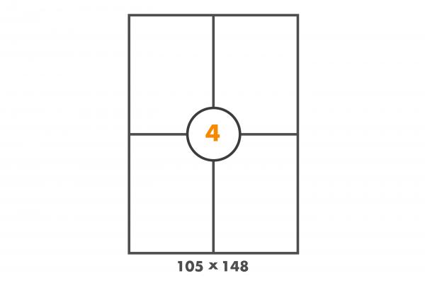 Versandetiketten auf DIN A4 Bogen, Papier, 4 Etiketten pro Blatt in 105 mm x 148 mm