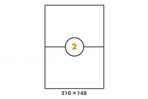 PE Etiketten auf DIN A4 Bogen, 2 Etiketten pro Blatt in 210 mm x 148 mm